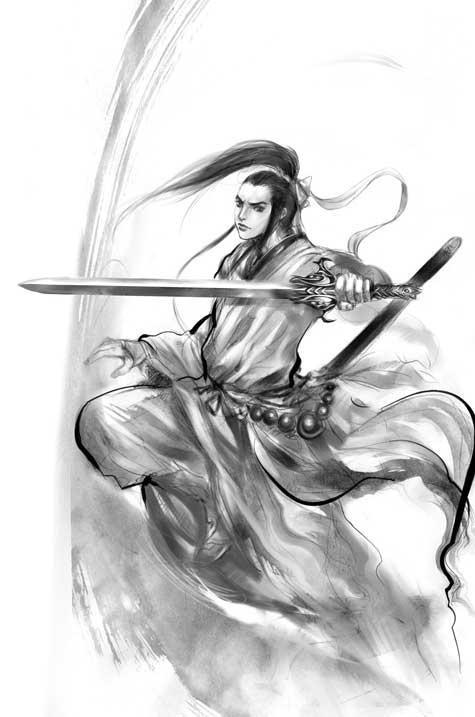 武侠人物铅笔画