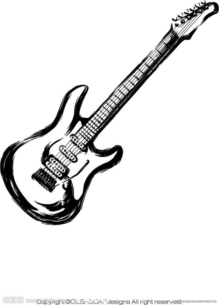 吉他人物矢量图