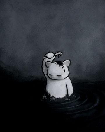 伤心悲痛的手绘
