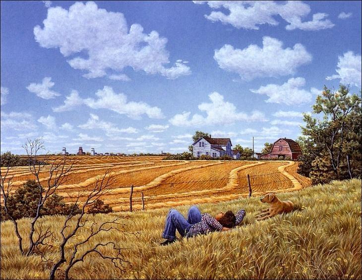 初春,叔走在乡间小路上